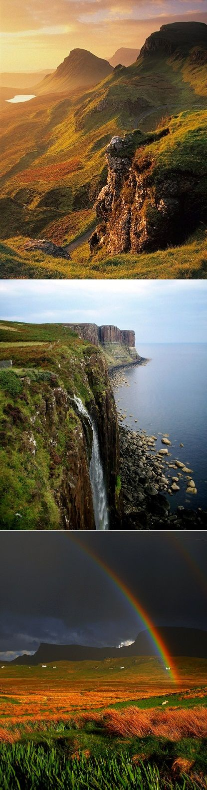 Isle of Skye - 50 mile island of amazing sea cliffs, velvet moors, the freshest seafood, beautiful little villages and endless mountains.