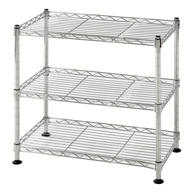 18 in. W x 18 in. H x 10 in. D 3-Shelf Steel Wire Chrome (Grey) Finish Commercial Shelving Unit