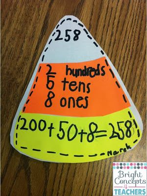Great place value activity for fall, we modified this too.  We use it for prefix/suffix.  Top = prefix/suffix, Middle = meaning, Bottom = example.