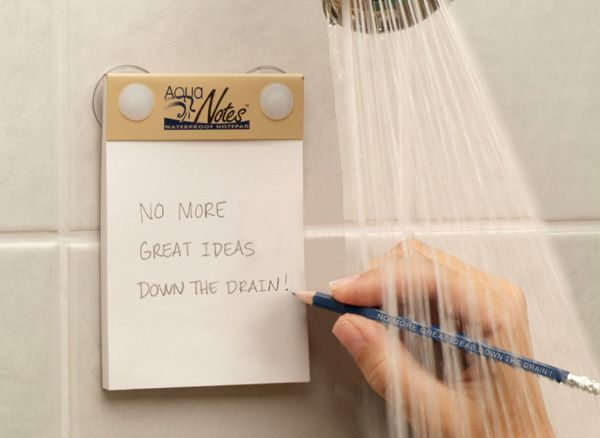 oh my gosh i need this! Aqua Notes: Waterproof paper! 40 sheets of paper plus pencil and suction cup pencil holder for $6.99    SO useful, I always think of my best ideas in the shower and then I forget them because I can't write them down!