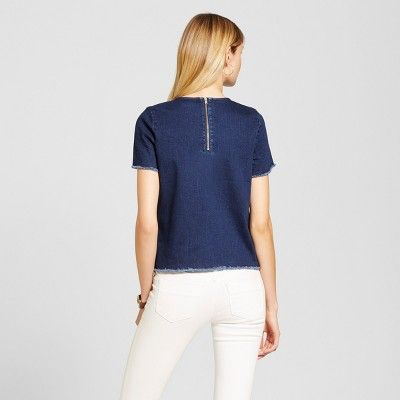 Women's Denim T-Shirt - Merona Dark Wash S, Blue