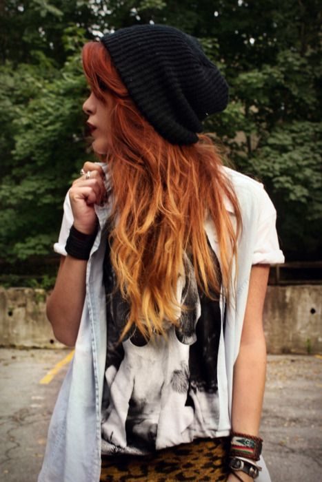 I want this ambre (and length) for the summer!: Hair Colors, Style, Red Hair, Hipster Girls, Outfit, Beanie, Red Ombre Hair, Redhair, Cute Clothing