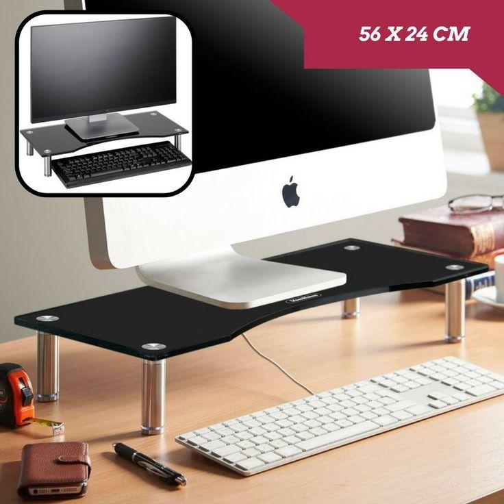 Small Curved Glass Monitor Stand Riser 56 x 24cm Black Shelf TV Display Screen