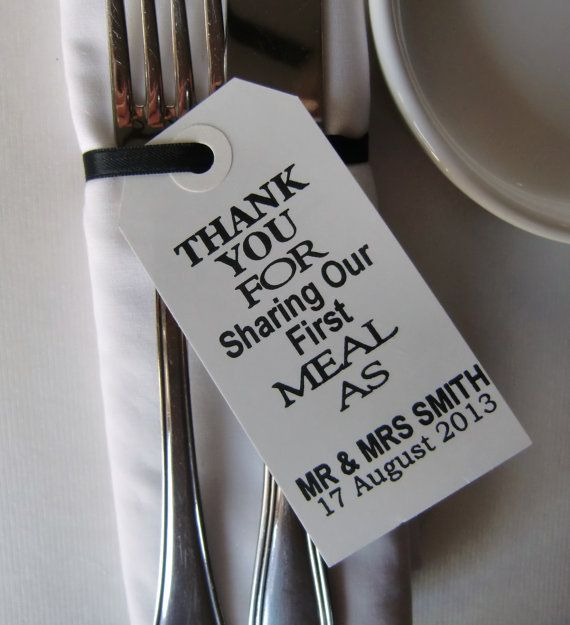 Wedding Napkin Holders-Wedding Table Decor-Elegant WhiteTags-Thank You for Sharing Our First Meal-Set of 100-Unique Wedding Favors