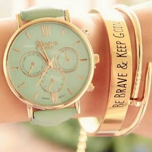 TRENDY MINT LEATHER WATCH