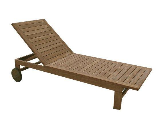 Chaise longue de jardin inclinable en bois à roulettes IPANEMA Collection Teak by Il Giardino di Legno