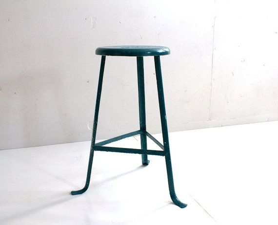 Industrial 1940 S Peacock Blue Factory Stool By Humemaze