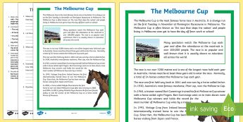 Melbourne Cup Differentiated Comprehension Challenge Sheet-Australia