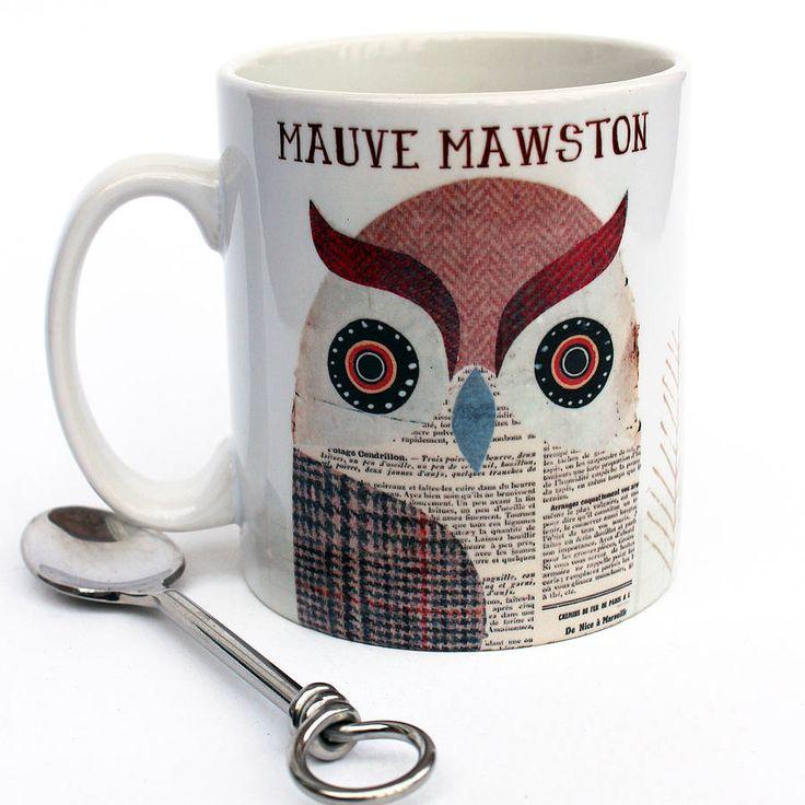 personalised tweed owl mug by lovehart | notonthehighstreet.com