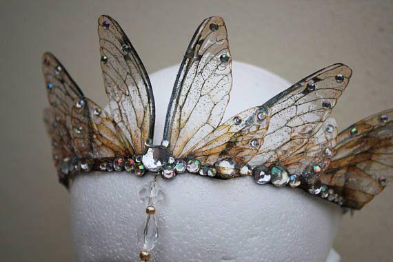Enchanting and Ethereal Fairy Wing Fairy Queen/Bridal/Promenade/Pagan Tiara/Crown/Headdress