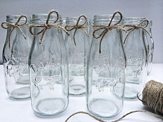 20 Glass Dairy Bottles Milk Bottles Glass by MidnightOwlCandleCo