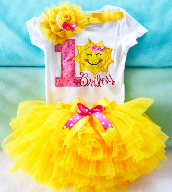 You are my sunshine 1st birthday outfit,Girls Yellow Sun first birthday tutu outfit,Girl 1st birthday yellow sun  outfit,Yellow Sun outfit on Etsy, $45.00