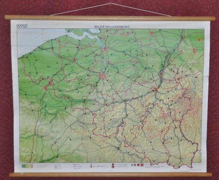 landkaart schoolkaart belgie / luxemburg 3e druk 1970 map | school | vintagexplosion