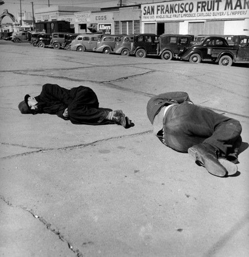 The homeless sleeping on the pavement ~ 'Skid Row' ~   Howard Street ~ San Francisco ~  California ~ February 1937 ~ PhotographbyDorothea Lange, from'Dorothea Lange' by Mark Durden ~