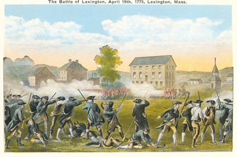 First shots fired at Lexington, Massachusetts in 1775