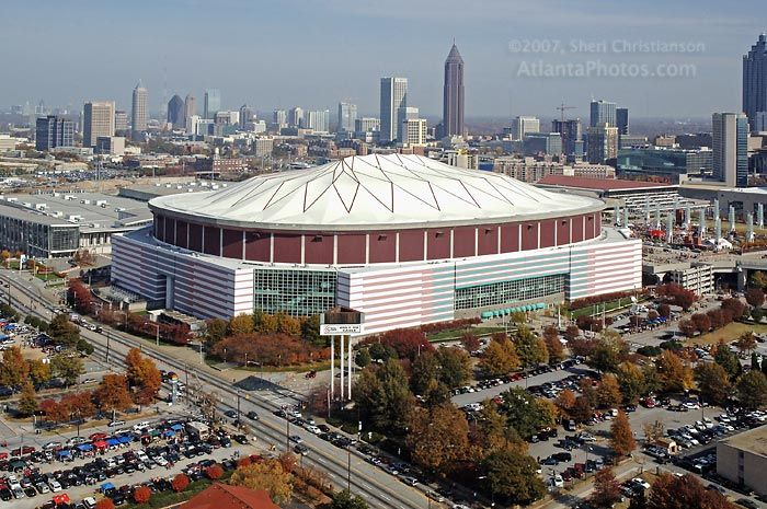 The Georgia Dome, home of the Atlanta Falcons and host of the Chick Fil A Bowl, SEC Championship games, concerts, the 2000 Super Bowl, and many other events.