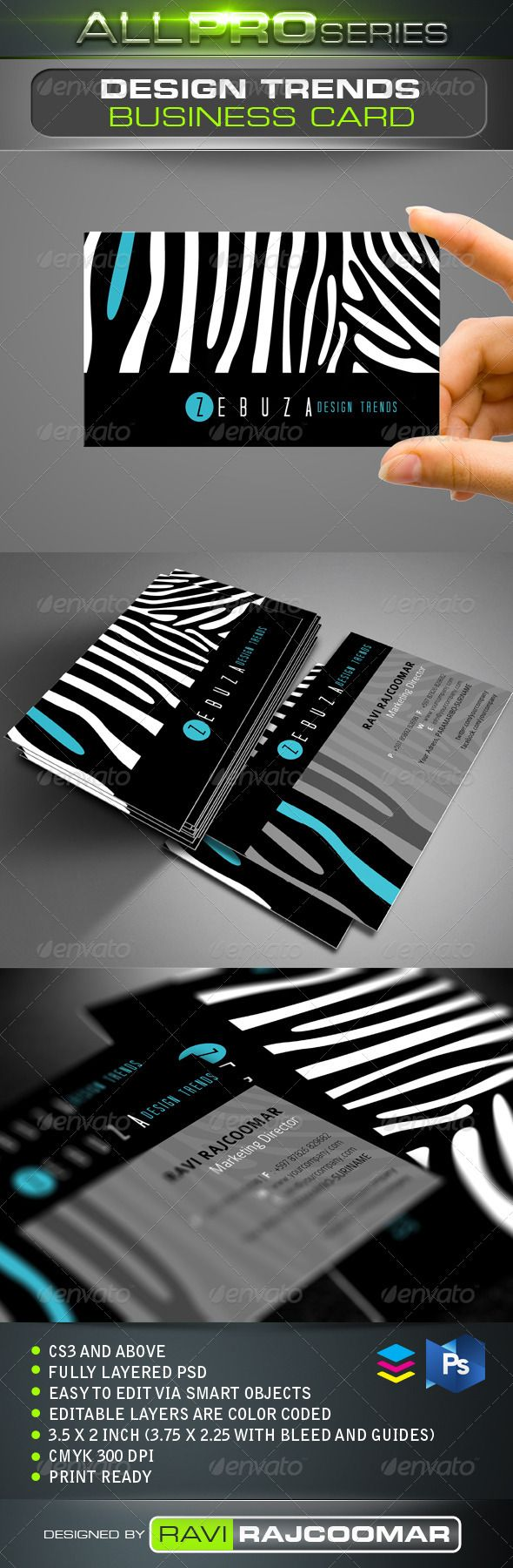 Design Trends Business Card #GraphicRiver CS3 and above Fully layered CMYK mode 300 DPI Easy to edit via smart objects Editable layers are color coded 3.75×2.25 inch dimension including bleed Print ready Help guide Included Fonts info included in the instruction file and they can be obtained for free. Very easy to customize and change your own color of choice. Thanks again for your support and If you have a moment, please rate this item, I'll appreciate it very much! Created: 25November12…