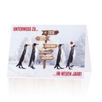 """Lustige Neujahrskarten mit Pinguinen """"Spendenkarten für Ärzte für die Dritte Welt"""""""
