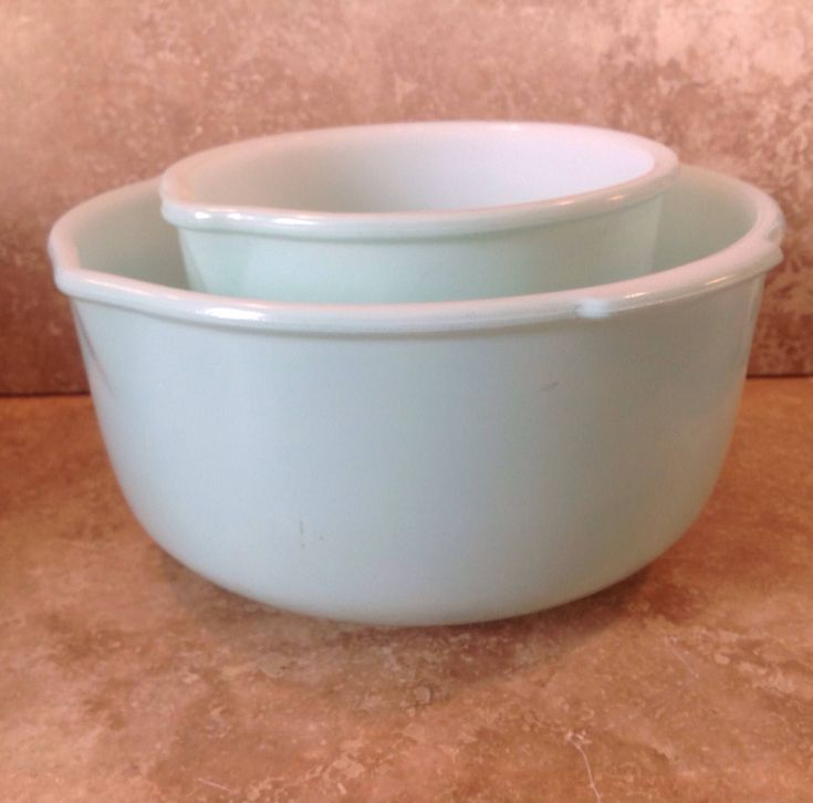 A personal favorite from my Etsy shop https://www.etsy.com/listing/540786260/mint-green-glassbake-mixer-bowls