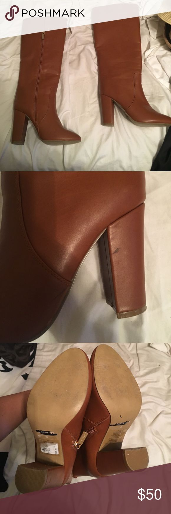 Tall cognac boots Only worn once. Too tall for my short lets. Cognac brown color. Purchased from express!! Size 6. True to size Express Shoes Winter & Rain Boots