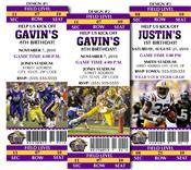 8 College Football LSU University Birthday Party Ticket Invitations