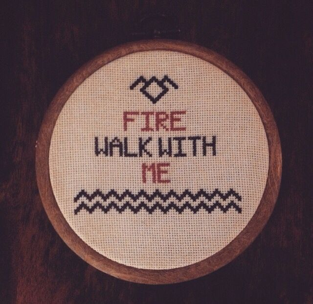 Handmade Cross-Stitch Twin Peaks Fire Walk With Me heckkate.etsy.com