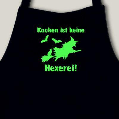 Schürze Küchenschürze 'Kochen ist keine Hexerei' neon. Küchenschürze 'Kochen ist keine Hexerei', 75x100cm, neon Flexdruck