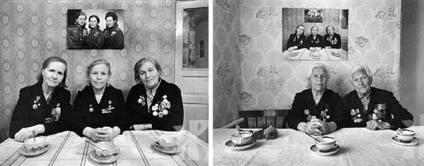 Tre sorelle posano per la stessa foto 3 volte distinte, ad anni di distanza