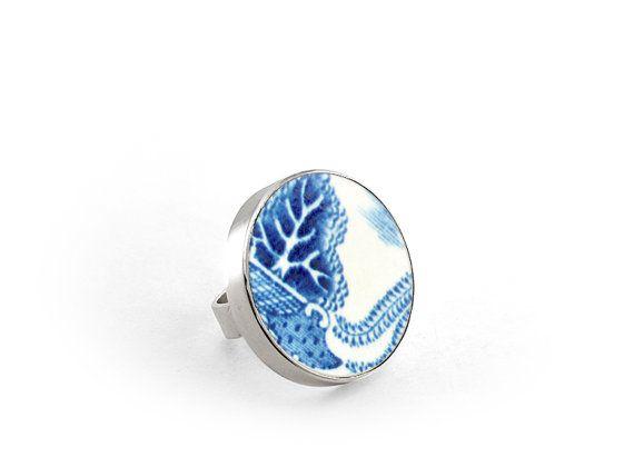 Willow Ring Broken China Jewelry Blue Statement by MariaLasarga