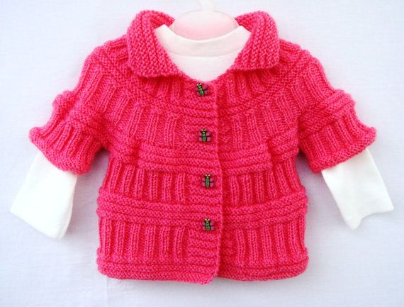 Hey, I found this really awesome Etsy listing at https://www.etsy.com/listing/169539351/coral-pink-handknit-baby-34-sleeve-coat