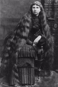 Victorian long hair.