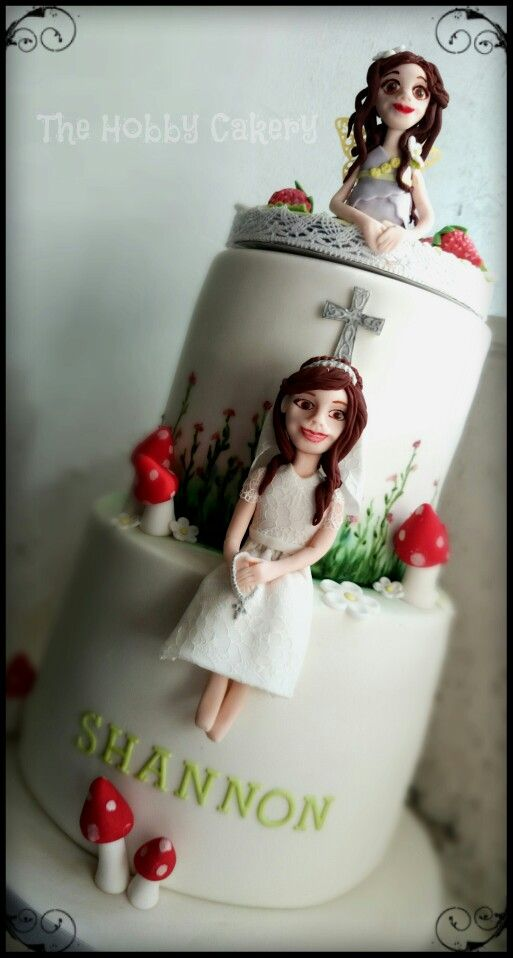 Two tier First Holy Communion cake personalised cake toppers girl and fairy's, The Hobby Cakery