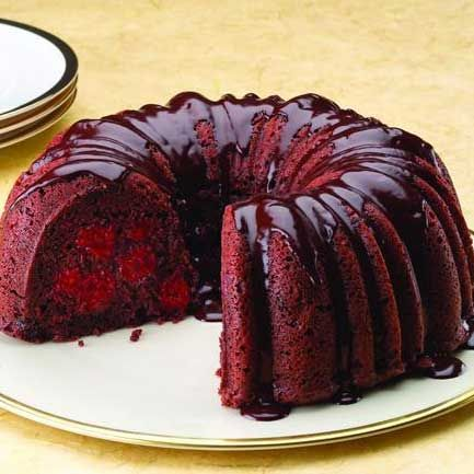 Chocolate Cherry Bundt cake w/ Rum Chocolate Ganache... OH YEAH!  Recipe from FarmerOwned.com