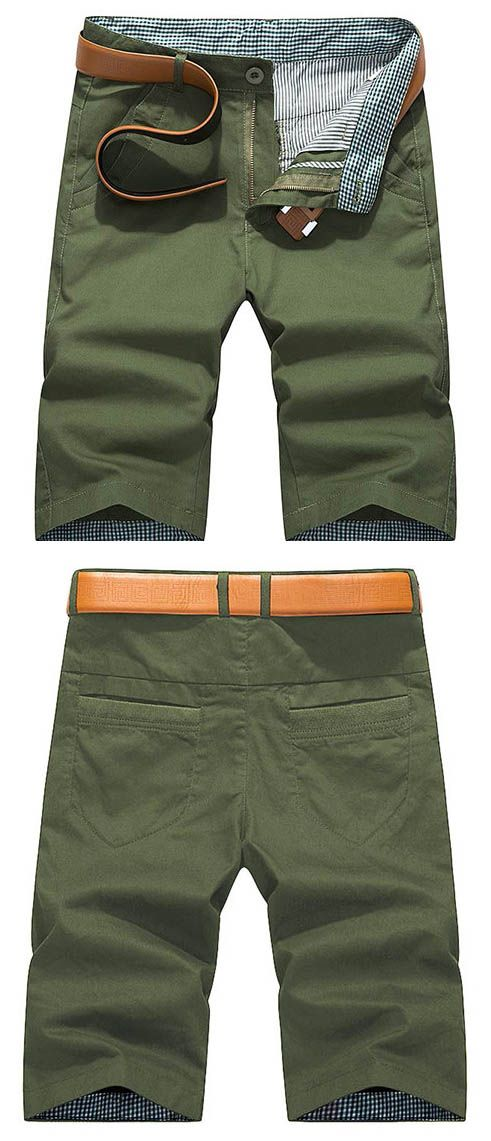 Mens Spring Summer Cotton Breathable Solid Color Shorts Casual Sport Shorts