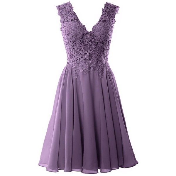 MACloth Gorgeous V Neck Cocktail Dress Short Lace Prom Homecoming... (37 CAD) ❤ liked on Polyvore featuring dresses, gowns, short prom dresses, purple formal gowns, short dresses, purple formal dresses and purple lace dress