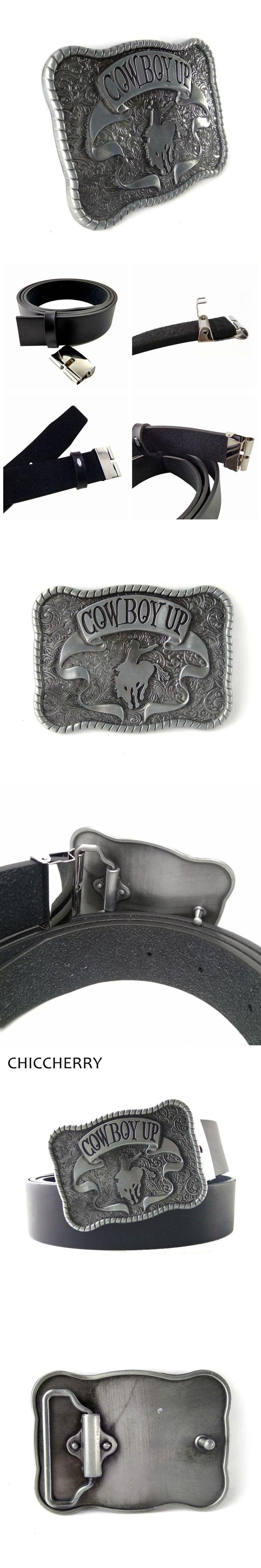 Fashion Western Cowboy Black PU Leather Belts For Men Jeans Cowboy Up Rodeo Metal Belt Buckles Vaqueros Cinto Cinturon Hombre