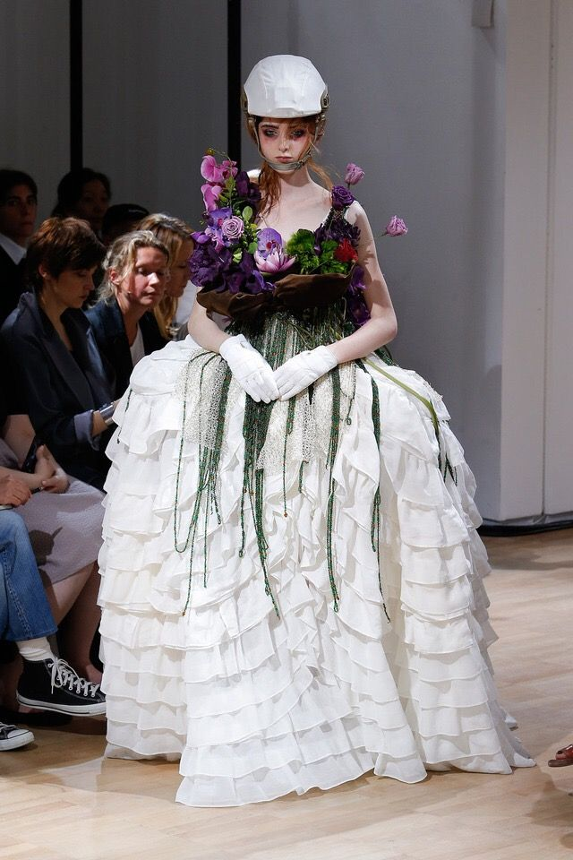 """Is this ready-to-wear? Something actually amazes me in this work by Yohji Yamamoto. I would call it """"Spring Victim"""""""