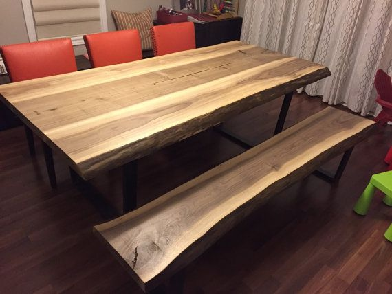 live edge black walnut dining table with bench live edge designs by plank to table