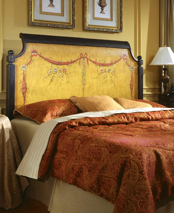 Antique Headboard W Landscape Painting | Beds Design
