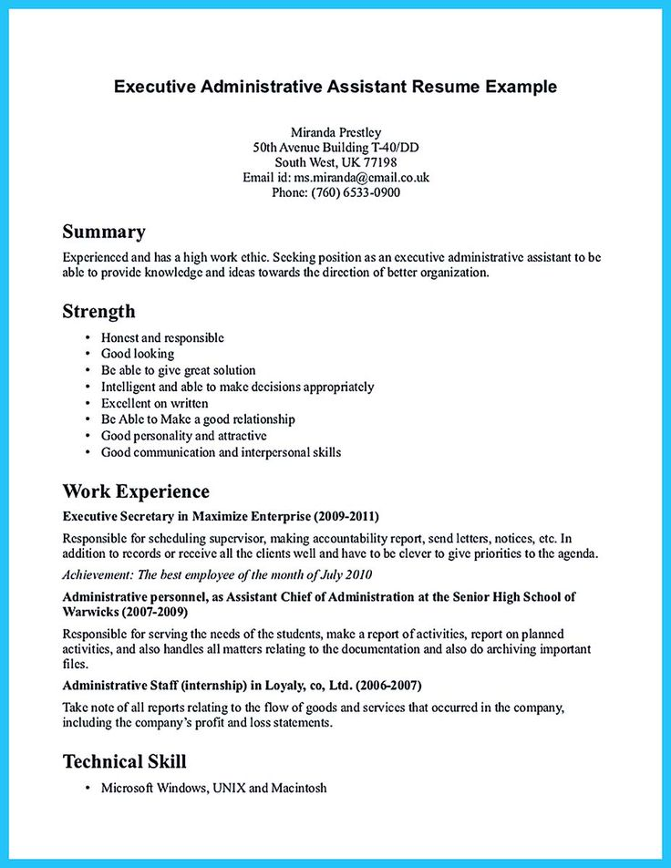 Executive Administrative Assistant Resume Examples - Template