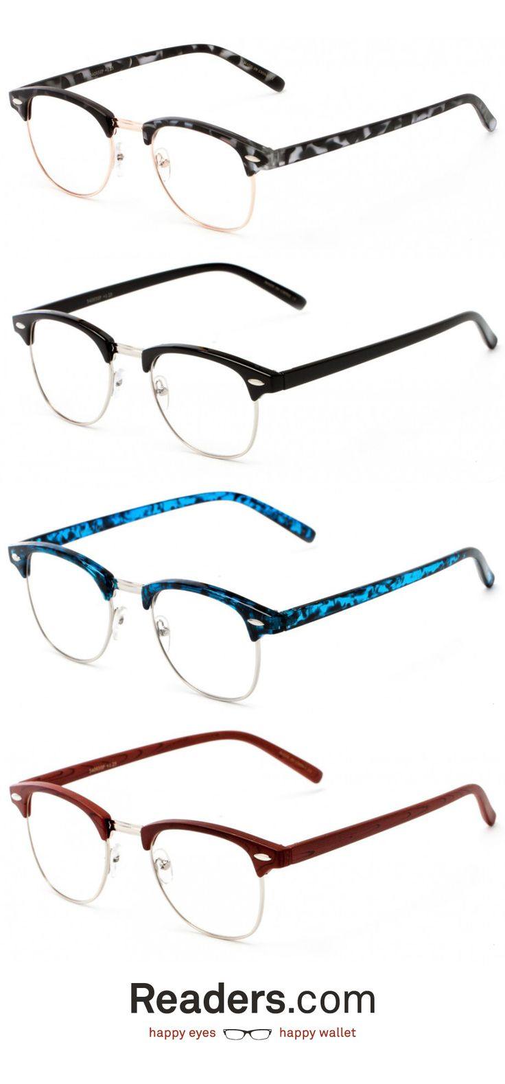Add a little retro flair to your look with this throwback! The Fig is a metal and plastic browline style that comes in both classic colors and funky tortoises. You can't go wrong with this pair. Readers.com #glasses