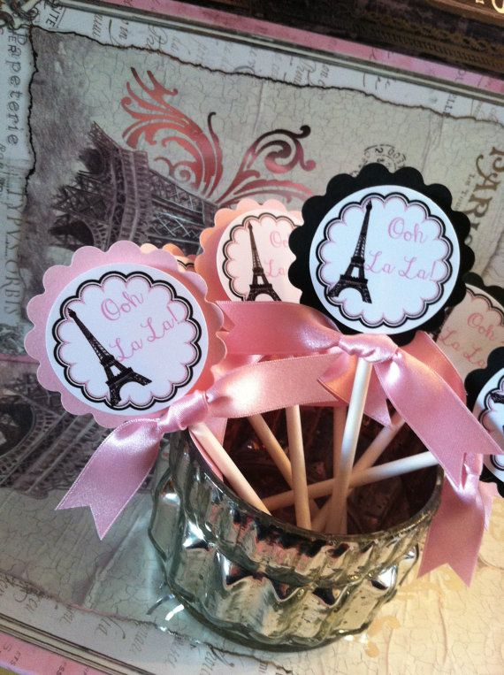 Eiffel Tower, Parisian Theme Birthday, Bridal Shower or Party Cupcake Toppers on Etsy, $9.95