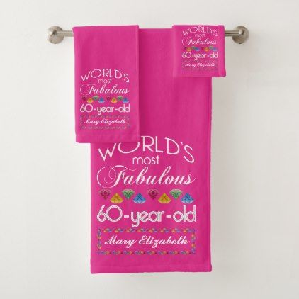 60th Birthday Most Fabulous Colorful Gems Pink Bath Towel Set - simple clear clean design style unique diy