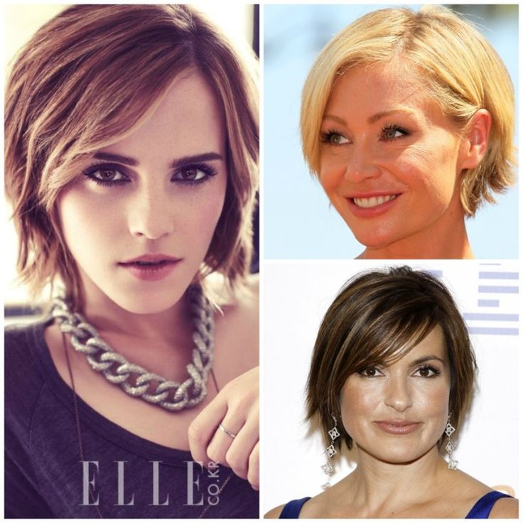 An edgy short shag looks playful yet sophisticated on Portia DeRossi, Mariska Hargitay, and Emma Watson when she graced the cover of Korean ELLE. (Image credit: Pinterest)