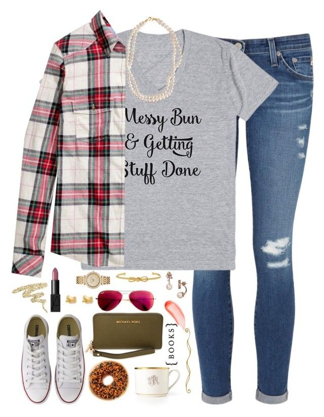 """""""messy bun and getting stuff done"""" by kaley-ii ❤ liked on Polyvore featuring AG Adriano Goldschmied, H&M, Converse, Kate Spade, STELLA McCARTNEY, Pickard, Michael Kors, Urban Decay, NARS Cosmetics and MICHAEL Michael Kors"""