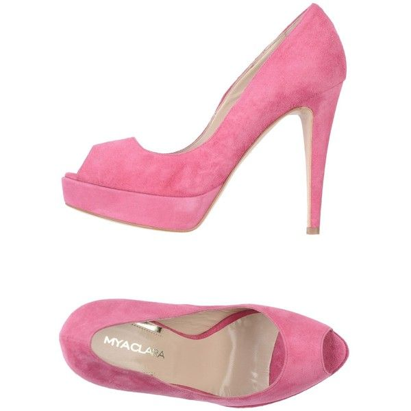 Myaclara Courts With Open Toe ($97) ❤ liked on Polyvore featuring shoes, pumps, heels, fuchsia, open toe shoes, real leather shoes, spiked heel shoes, fuchsia pumps and open toe pumps