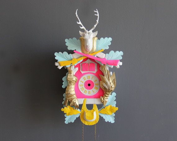 Not your Grandma's Cuckoo Clock!  {Neon Pink & Gold Cuckoo Clock. Working by GallivantingGirls, $289.00}