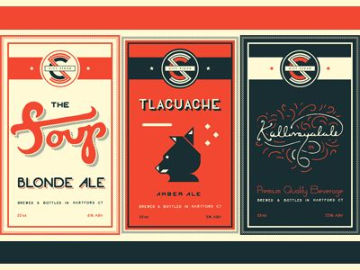 Love the designed by hand feel of the typefaces on these beer labels. Can't get enough of fonts!