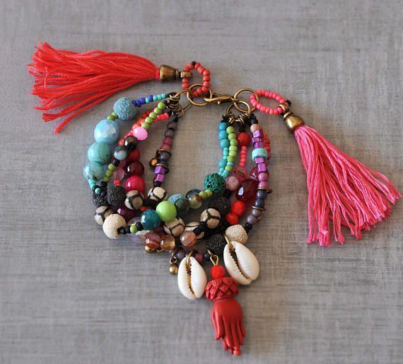 Hamsa Hand Gypsy Bracelet  Ethnic Gemstone Bracelet