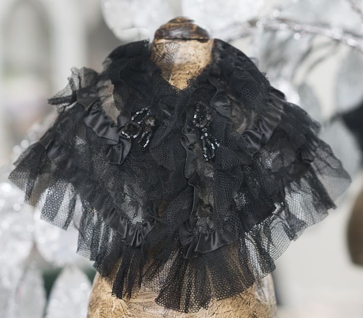 """Antique Original Lace & Silk Cape for Fashion doll Jumeau bru Huret Rohmer and other about 17-18"""" tall Antique dolls at Respectfulbear.com"""